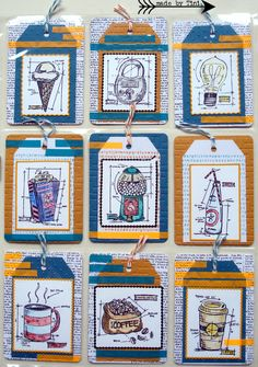 Tags Tim Holtz style Arts by Tini: My Pocket Letters Pocket Pal, Pocket Cards, Atc Cards, Card Tags, Gift Tags, Tim Holtz Stamps, Project Life Cards, Pocket Scrapbooking, Pocket Letters