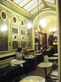 An interesting pretty interior of Cafe Greco - visited by many tourists and local celebrities