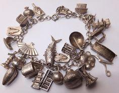 Loaded Vintage Sterling Silver Charm Bracelet