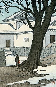 1934 - Hasui, Kawase - Lingering Snow at Hikone Castle Japan Illustration, Botanical Illustration, Art Occidental, Poster Prints, Art Prints, Block Prints, Linocut Prints, Art Asiatique, Art Japonais