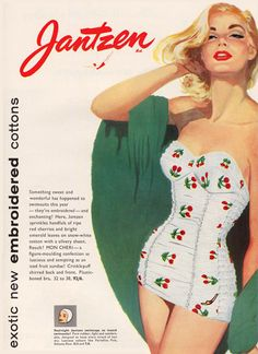 Jantzen Swim Suits Exotic Embroidered Cottons - Mad Men Art: The Vintage Advertisement Art Collection Vintage Advertisements, Vintage Ads, Vintage Designs, Vintage Posters, 1950s Style, Push Up Bikini, Bandeau Bikini, 1950s Fashion, Vintage Fashion