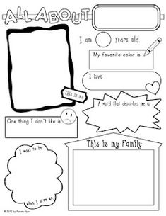 All About Me Poster...would be cute to make a scrapbook where coleman fills one out every year until he thinks it's lame Last Day Of School, School Days, Back To School, First Day Activities, Classroom Activities, Classroom Ideas, All About Me Poster, All About Me Book, All About Me Eyfs
