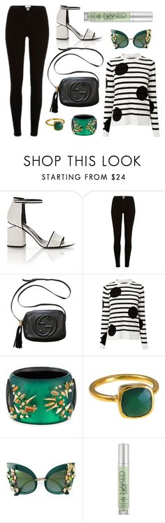 """""""Green + Black"""" by cherieaustin ❤ liked on Polyvore featuring Alexander Wang, River Island, Gucci, L.K.Bennett, Alexis Bittar, Dolce&Gabbana and Urban Decay"""