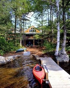 New Hampshire timber frame lake home- if I win the lottery, I will buy a lake house that very day. No waiting around. Lake Cabins, Cabins And Cottages, Lakeside Living, Outdoor Living, Cabin Homes, Log Homes, Beautiful Homes, Beautiful Places, Haus Am See
