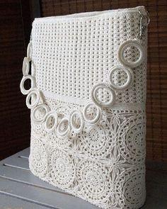 Items similar to Beige Romantic Crochet Lace Summer Shoulder Bag Handbag on Etsy - Knitting Mode Crochet, Crochet Lace, Crochet Stitches, Crochet Patterns, Cross Stitches, Crochet Handbags, Crochet Purses, Crochet Bag Tutorials, Crochet Projects