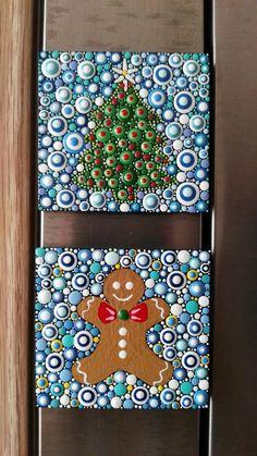 Image of Christmas kitchen decor. Fridge magnet by Alberto Martín Christmas Ornament Template, Christmas Ornament Crafts, Dot Art Painting, Mandala Painting, Mandala Dots, Mandala Design, Christmas Mandala, Mandala Stencils, Art N Craft