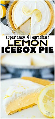 LEMON ICEBOX PIE Lemon Icebox Pie is a quick an easy frozen lemon dessert. This pie has a classic tart lemonade flavor & is made from only FOUR simple ingredients! Simple to make and everyone loves this sweet, creamy lemon pie. Lemon Recipes, Fruit Recipes, Sweet Recipes, Dessert Recipes, Easy Tart Recipes, Quick Recipes, Recipes Dinner, Potato Recipes, Pasta Recipes