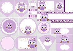 Kit de Lechuza Púrpura para Imprimir Gratis.