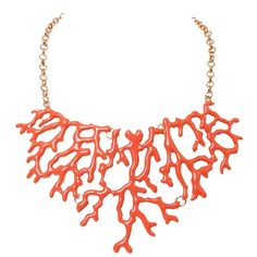 Coral Enamel Statement Necklace