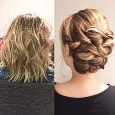 Shorter hair CAN go up. Do you ever panic when you have a client with shoulder length hair or shorter? Take a seminar with #KellGrace and find out how to simplify the updo!  KellGrace.com/tour or email Cathy@kellgrace.com to host one! (This is the same girl in both photos...just has her jacket off in the updo picture )