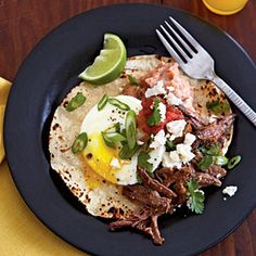 Eggs Barbacoa | MyRecipes.com  Recipe Week of 2.03-2.09  Used frozen Chuck Steak to make Beef Barbacoa the night before - breakfast for dinner recipe