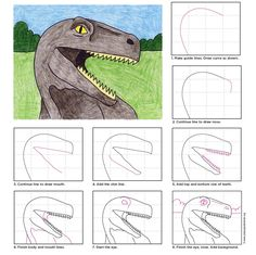 Dino Head. How to Draw PDF tutorial available for free.