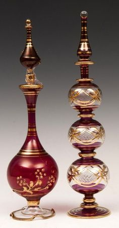2 Stunning, Majestic Egyptian Perfume Bottles (larger than the norm) in Gorgeous jewel colors and Gold Decoration - Some of the BEST I've seen (wish I had thee in my collection)♥≻★≺♥