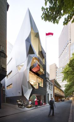 Monaco House in Melbourne, Australia;  cafe on ground level, two levels of offices, and a small reception area on the top level;  designed by McBride Charles Ryan;  photo by John Gollings