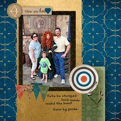 Merida, Brave, Disney World, digital scrapbook layout