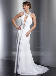 A-Line/Princess Halter Court Train Chiffon Wedding Dress With Ruffle Lace Beading Sequins (002012762) - JJsHouse