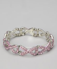 Take a look at this Pink Ribbon Chain Linked Stretch Bracelet by Katydid Collection on #zulily today!