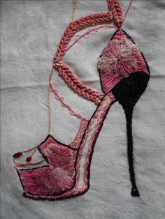 Hand stitched & embroidered killer high heeled shoe https://www.facebook.com/Jacq-Brill-Art-423428194459839/