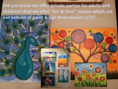We offer Art & Vine adult painting classes and private painting parties!