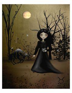 Zodiac Goth Girl 8x10 Art Print TAURUS by RusticGoth on Etsy,