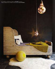 6 unisex boys girls kids room childrens black bedroom childs wooden bed star bulb lights copy