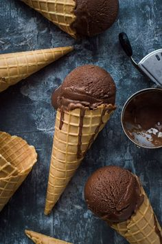 Chocolate coconut sorbet - rich and chocolatey but lighter than a traditional ice cream; this vegan chocolate coconut sorbet is an easy to make, refreshing treat. Ice Cream Art, Yummy Ice Cream, Ice Cream Recipes, Frozen Desserts, Just Desserts, Dessert Recipes, Dairy Free Ice Cream, Vegan Ice Cream, Chocolate Ice Cream