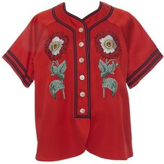 Gucci Embroidered Duchesse Baseball Shirt ($2,490) ❤ liked on Polyvore featuring tops, clothing /, kirna zabete, gucci, floral baseball shirt, red top, red embroidered top and embroidery top