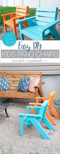 Create the perfect backyard seating with these Easy DIY kids patio chairs. The chairs are perfect for toddlers and kids to have their own space in the yard. Lightweight, but hard to tip over. Get he free build plans today! Housefulofhandmade.com | Free Build Plans | Kids Outdoor Chairs | Modern Adirondack Chairs | Colorful Kids Chairs | DIY Patio Furniture | How to Build Patio Furniture |Kreg Jig #kidsoutdoorplayhouse #adirondackpatiofurnitureplans #outdoorspacepatiofurniture