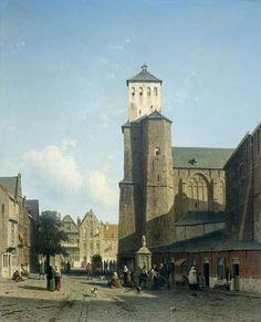 De kerk van St Denis te Luik (Jan Weissenbruch, 1850 - 1860, Rijksmuseum, Amsterdam)