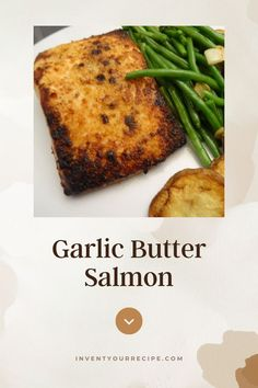 Easy Garlic Butter Salmon with Vegetables: With a generously sized portion of salmon and potato slices, this meal sure will fill you up! The green beans are buttery and garlicky, yet still crisp. Sauteed Green Beans, Green Beans And Potatoes, Sliced Potatoes, Vegetable Recipes, Chicken Recipes, Butter Salmon, Garlic Butter Sauce, Fresh Lemon Juice, Fresh Vegetables