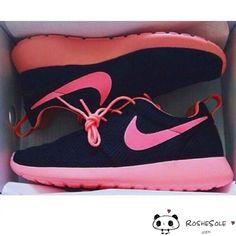 Nike Roshe Run Women Black Pink Mesh Spring Summer Shoes