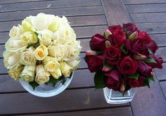 Fully wired posy bouquets - bridal shades of ivory and cream, bridesmaid's bouquet of Magnum roses and red tulips with a camellia leaf collar