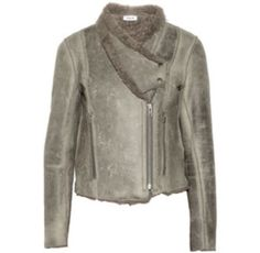 HELMUT LANG $2000 WEATHERED  LEATHER SHEARLING FUR MOTO JACKET COAT SIZE S