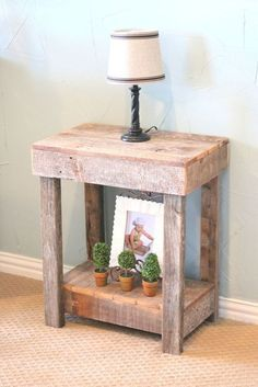 Natural Rustic End Table