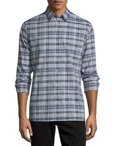 VINCE Melrose Plaid Sport Shirt, Plum. #vince #cloth #