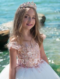 Cute Flower Girl Dresses 2018 with Cap Sleeves & Lace Up Back Europe and America Style Rhinestones Lace Tulle Princess First Communion Dress Baby Pageant Dresses, Girls Party Dress, Birthday Dresses, Party Dresses, Cute Flower Girl Dresses, Little Girl Dresses, Girls Dresses, Toddler Dress, Baby Dress
