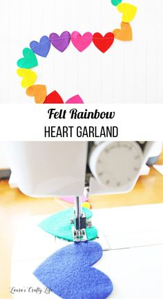 Felt Rainbow Heart Garland made with Cricut Maker Felt Rainbow Heart Garland. Make a felt garland in minutes using the Cricut Maker machine and craft felt. You can create this in any color pattern or shape you want! Easy Felt Crafts, Felt Diy, Crafts For Kids, Crafts With Felt, Heart Garland, Diy Garland, Paper Garlands, Easy Sewing Projects, Craft Projects