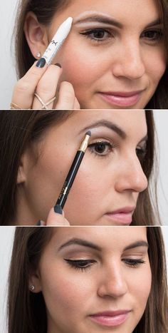 Genius Eyeliner Hacks Every Woman Needs to Know Use white eyeliner as a brow highlighter for an instant eye lift.Use white eyeliner as a brow highlighter for an instant eye lift. Eyeliner Hacks, Khol Eyeliner, No Eyeliner Makeup, Skin Makeup, Apply Eyeliner, Black Eyeliner, Eyeliner Waterline, Natural Eyeliner, White Eyeliner Tips