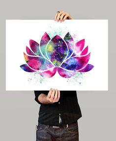 Arte de la flor de loto Yoga arte decoración de por FineArtCenter