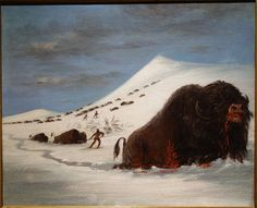 Buffalo Hunt in Snow Shoes by George Catlin, undated, oil on canvas - New Britain Museum of American Art - DSC09169.JPG