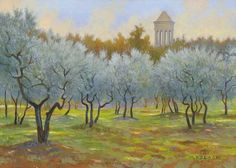Provence #acrylic #art #field #france #monte-dolack #original-painting #tower #travel #travels-in-france #vincent-grove
