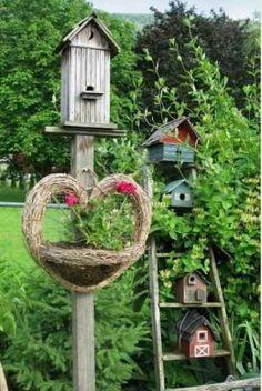 faites un village à oiseaux avec une vielle échelle