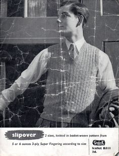 VINTAGE 1940's Gents Slipover Sleeveless Jumper  PDF by Hobohooks, £1.20