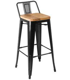 Chaise de Bar en Métal Noir et Assie en Bois de Frêne Style Industriel