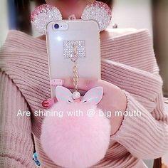 3D Bling Diamond Rabbit ear Fur ball Pompom Tassel Soft Case for phone 6 6s