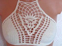 Crochet top high neck crochet tank crop top halter top by Spillija