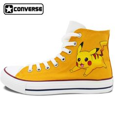 109.65$  Watch here - http://alic5n.worldwells.pw/go.php?t=32680277811 - Pokemon Go Pikachu Custom Design Hand Painted Shoes Boys Girls Converse All Star Men Women Yellow Sneakers Christmas Gifts 109.65$