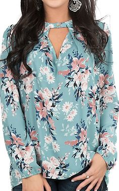 Fantastic Fawn Women's Sage Floral Print with Keyhole Details Long Sleeve Fashion Top | Cavender's