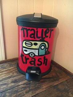 Trailer Trash- Painted Trash Can- Trailer Trash Painted Trash Can- Camper Decor- Camper Trash Can- RV Decor- Small Trash Can- RV Trash Can Camping Spots, Go Camping, Camping Crafts, Camping Hacks, Trailer Trash Party, Painted Trash Cans, White Trash Party, Shasta Camper, Remodeled Campers