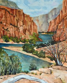 Bend In The River is a watercolor painting original. This landscape painting of the canyons in Northwest Colorado is in rust and turquoise.
